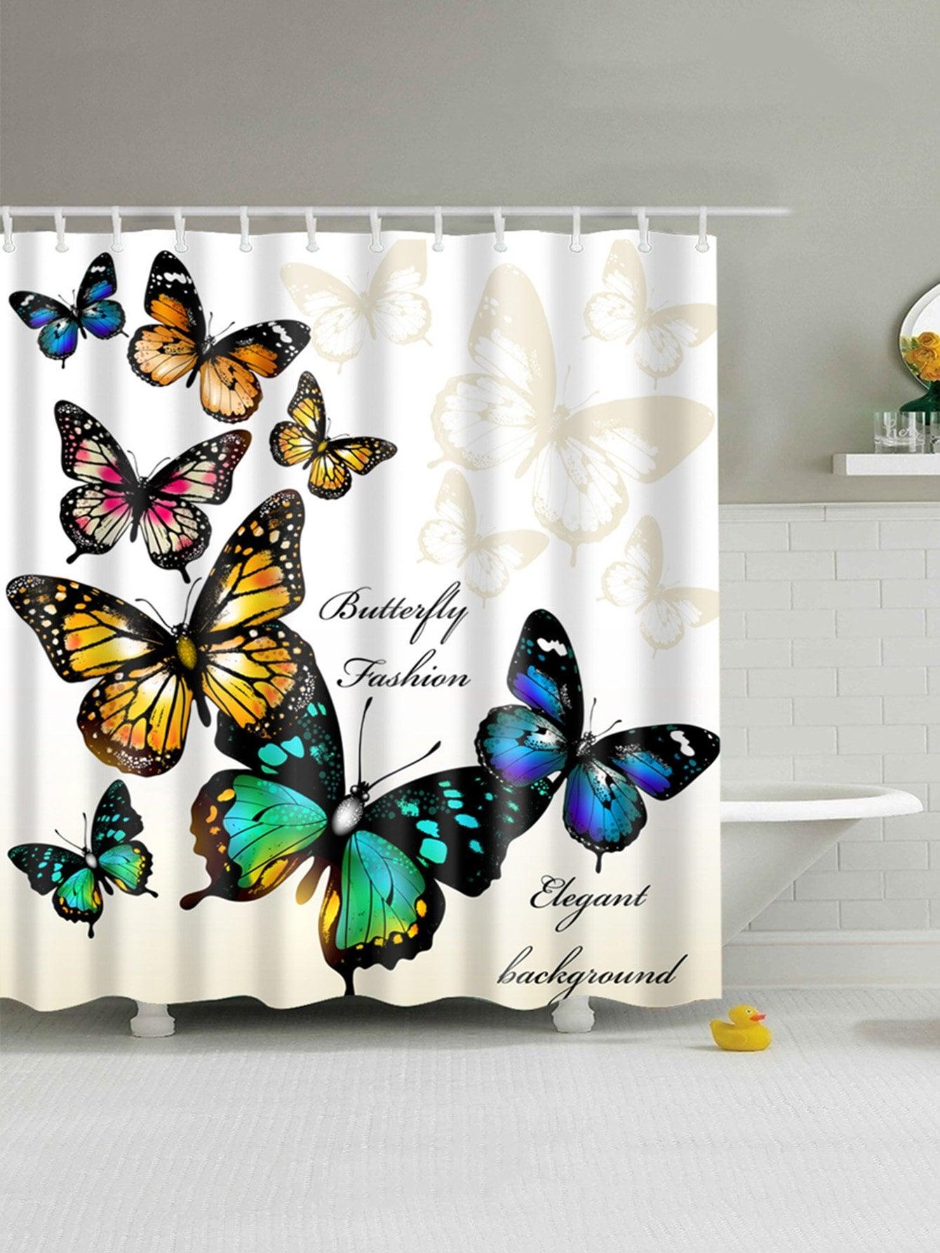 Schmetterlings-Muster-Duschvorhang 1pc mit Haken 12pcs