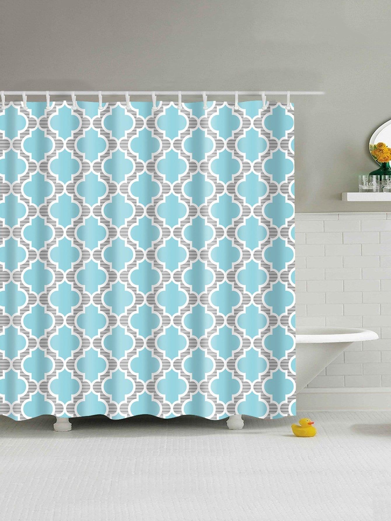 Vierpass-Muster-Duschvorhang 1pc mit Haken 12pcs