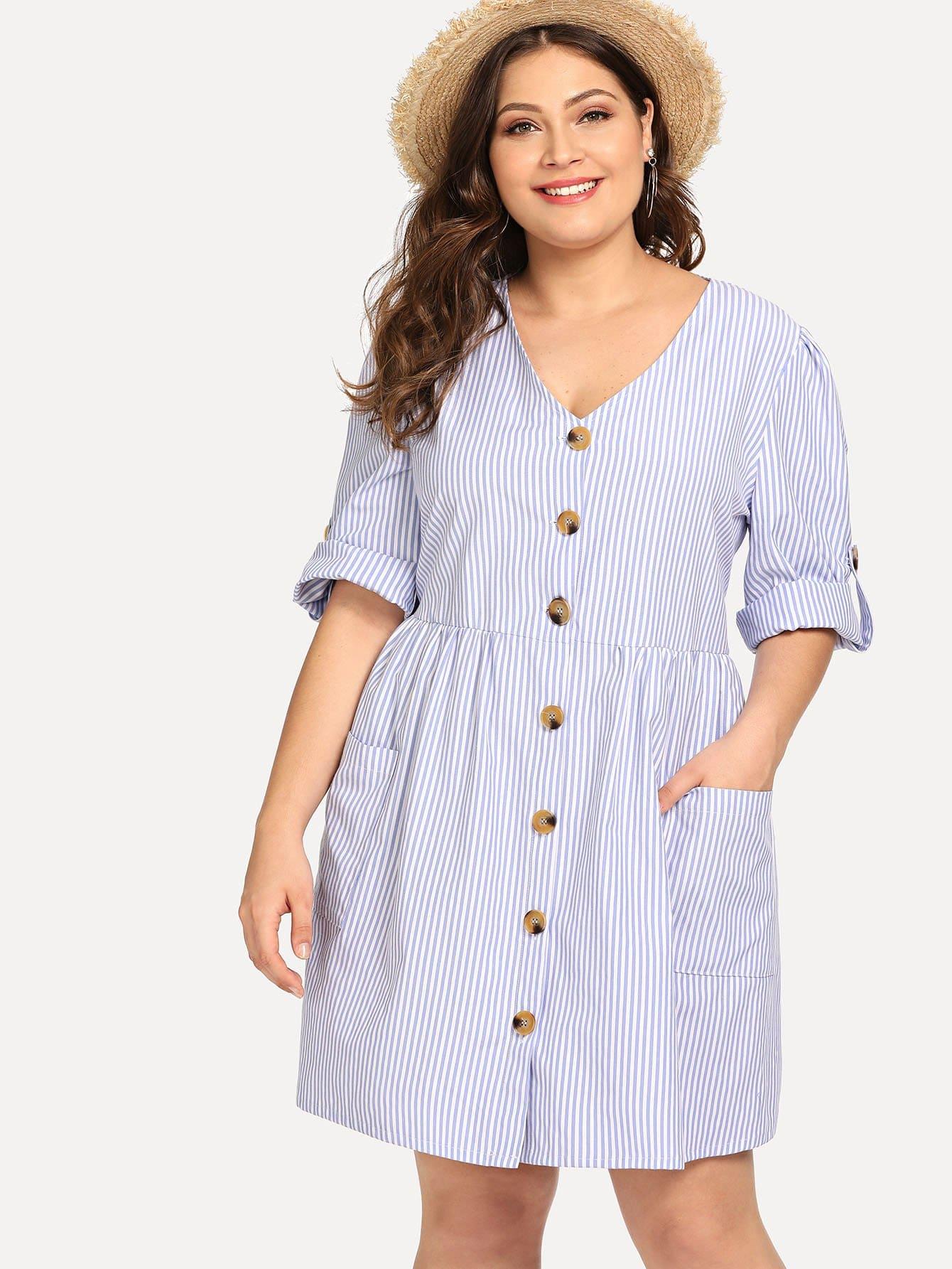 Купить Полосатое платье рубашки с рольными рукавами, Carol, SheIn