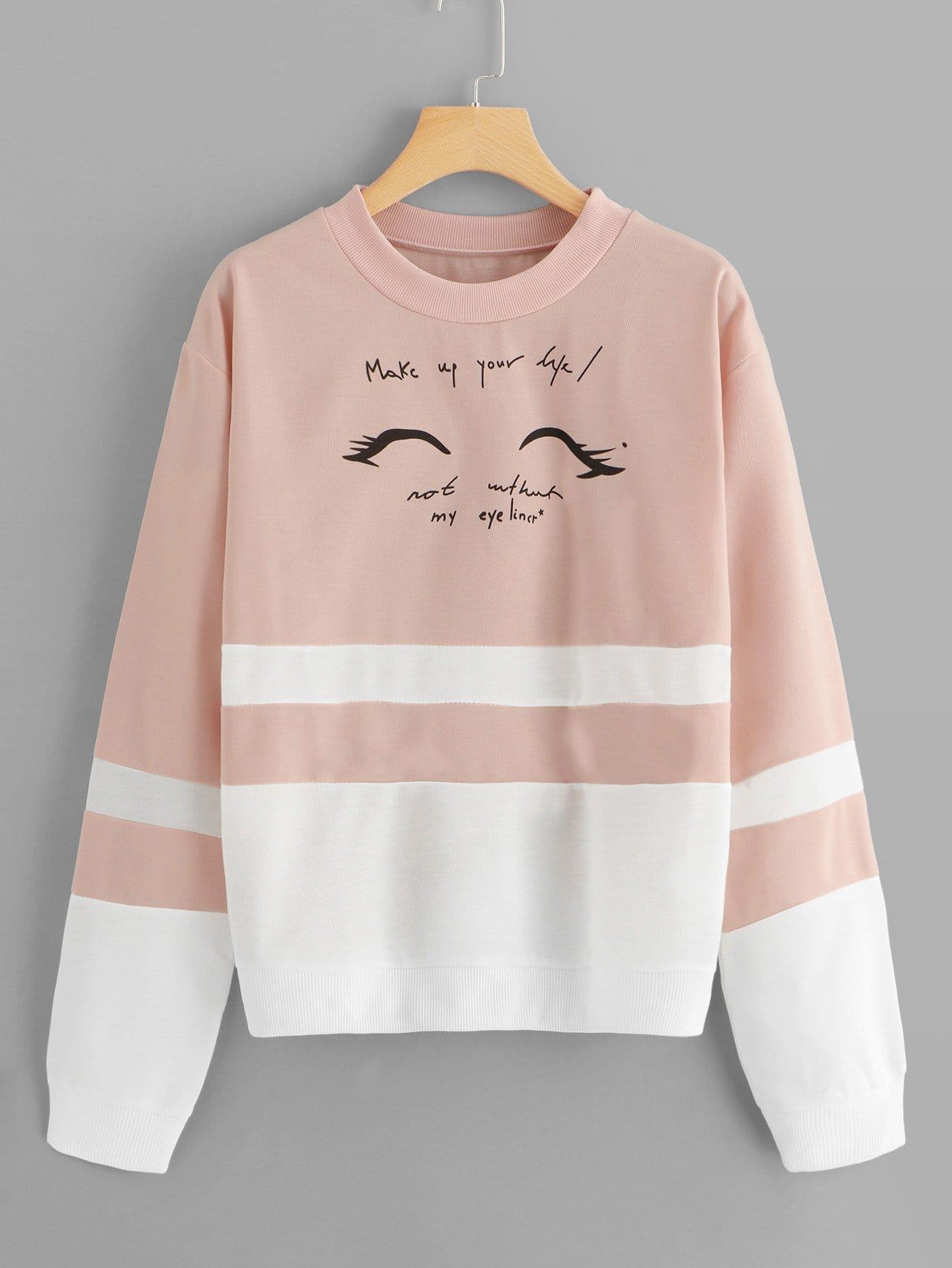 Купить Контрастный модный свитшот с текстовым принтом, null, SheIn