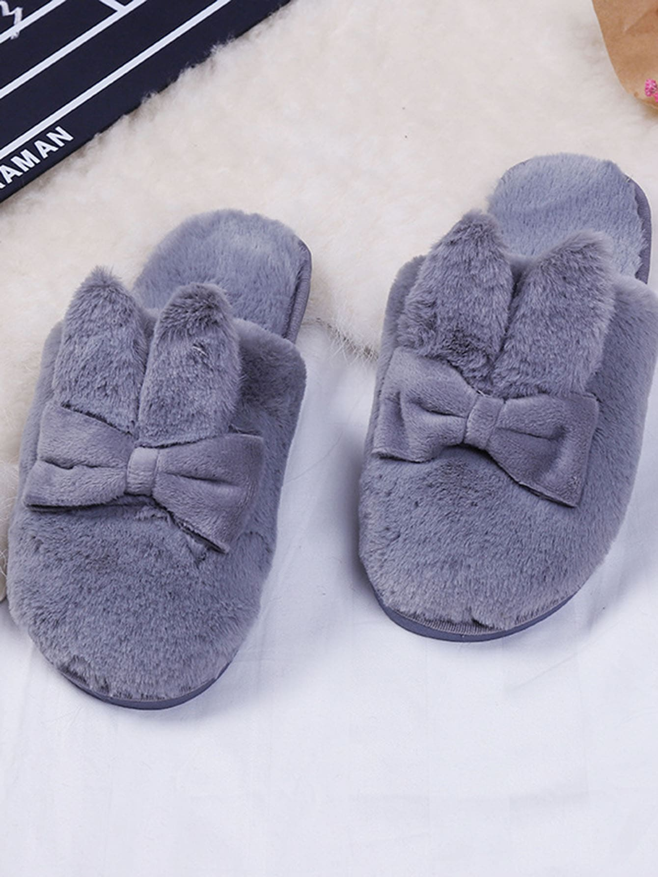 Rabbit Ear Faux Fur Flat Slippers