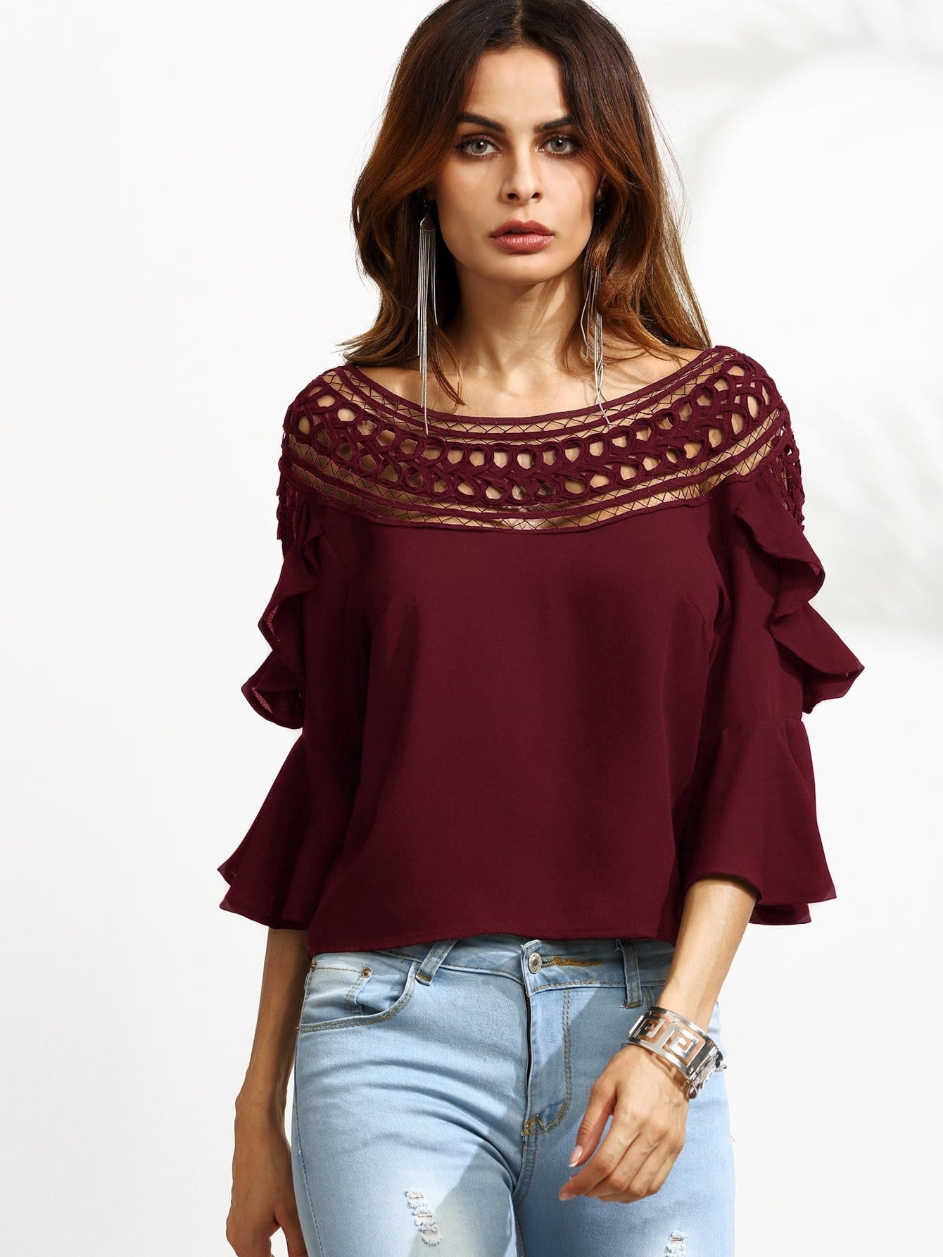 цена на Crochet Neck Bell Sleeve Ruffle Top