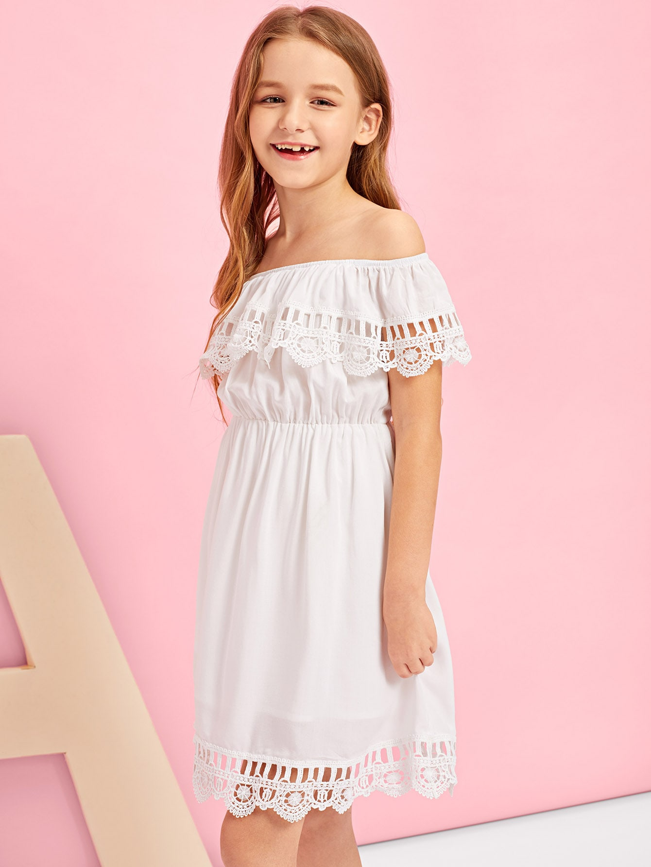 Girls Lace Hem Off Shoulder Dress тени для век zao essence of nature zao essence of nature za005lwdqh78