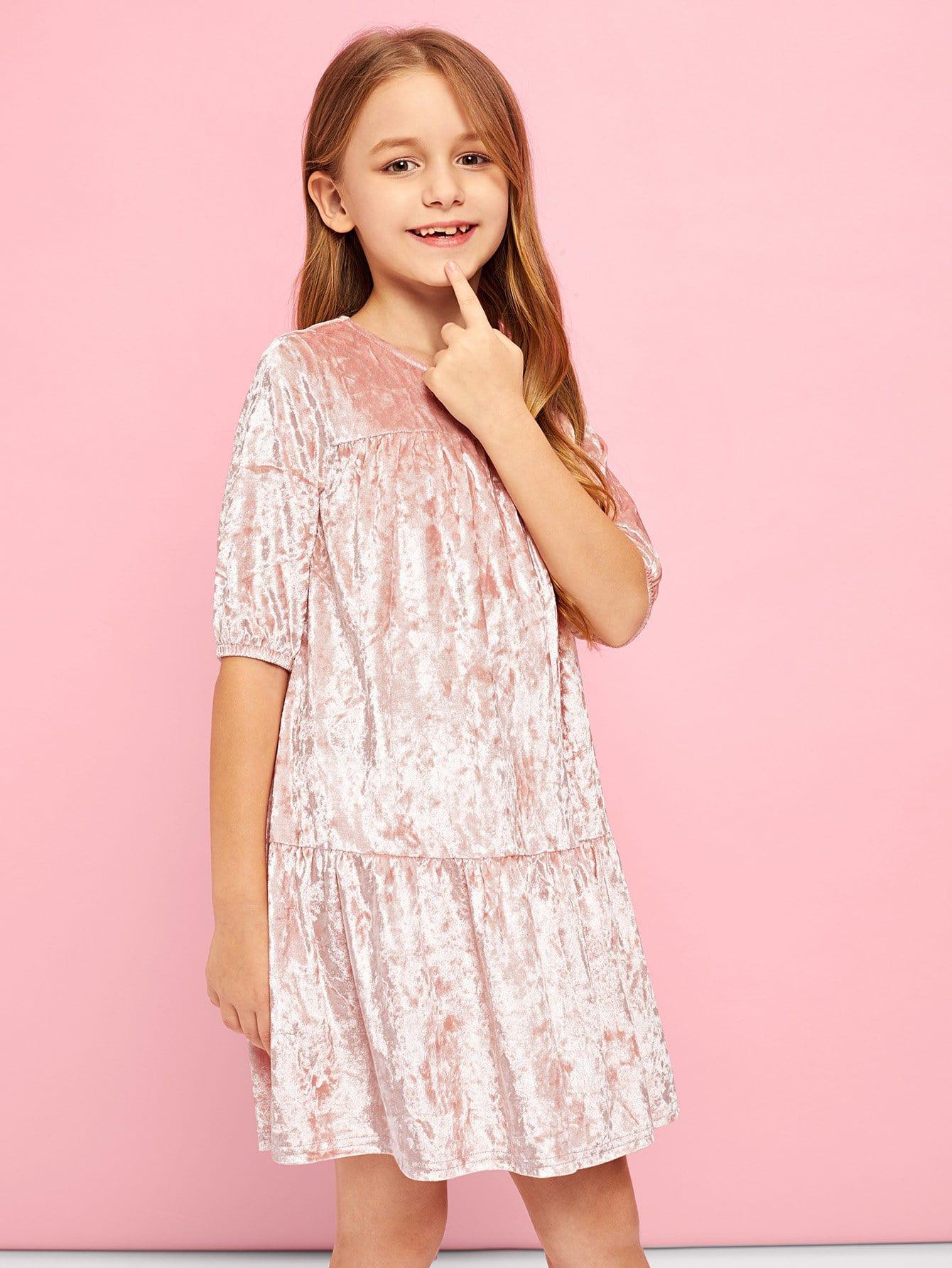 Купить Девушки Zip Back Дробленое бархатное платье, Sashab, SheIn
