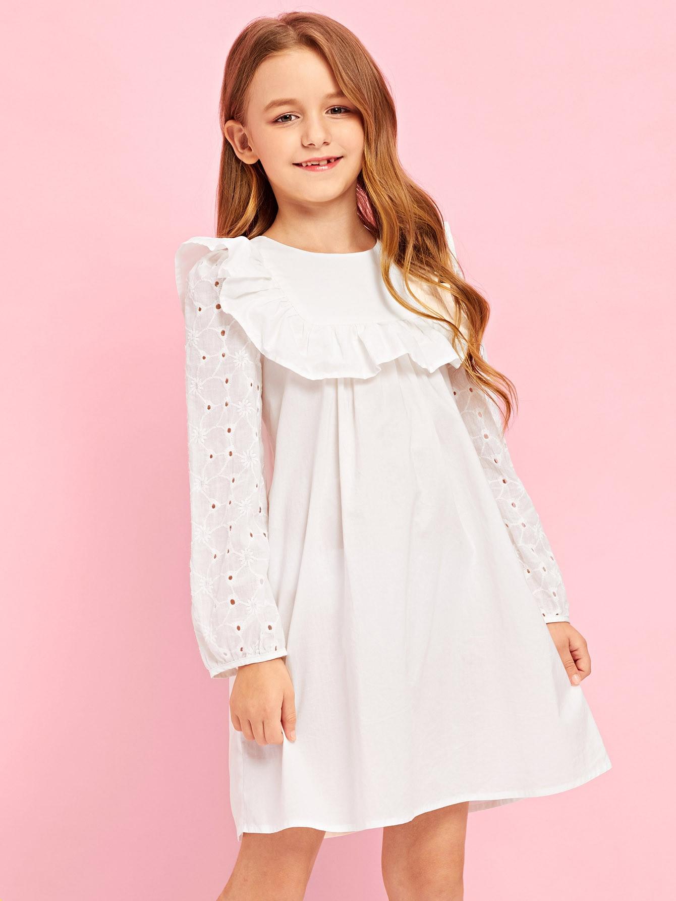 Купить Платье для девочек с вышивкой для девочек с вышивкой, Sashab, SheIn