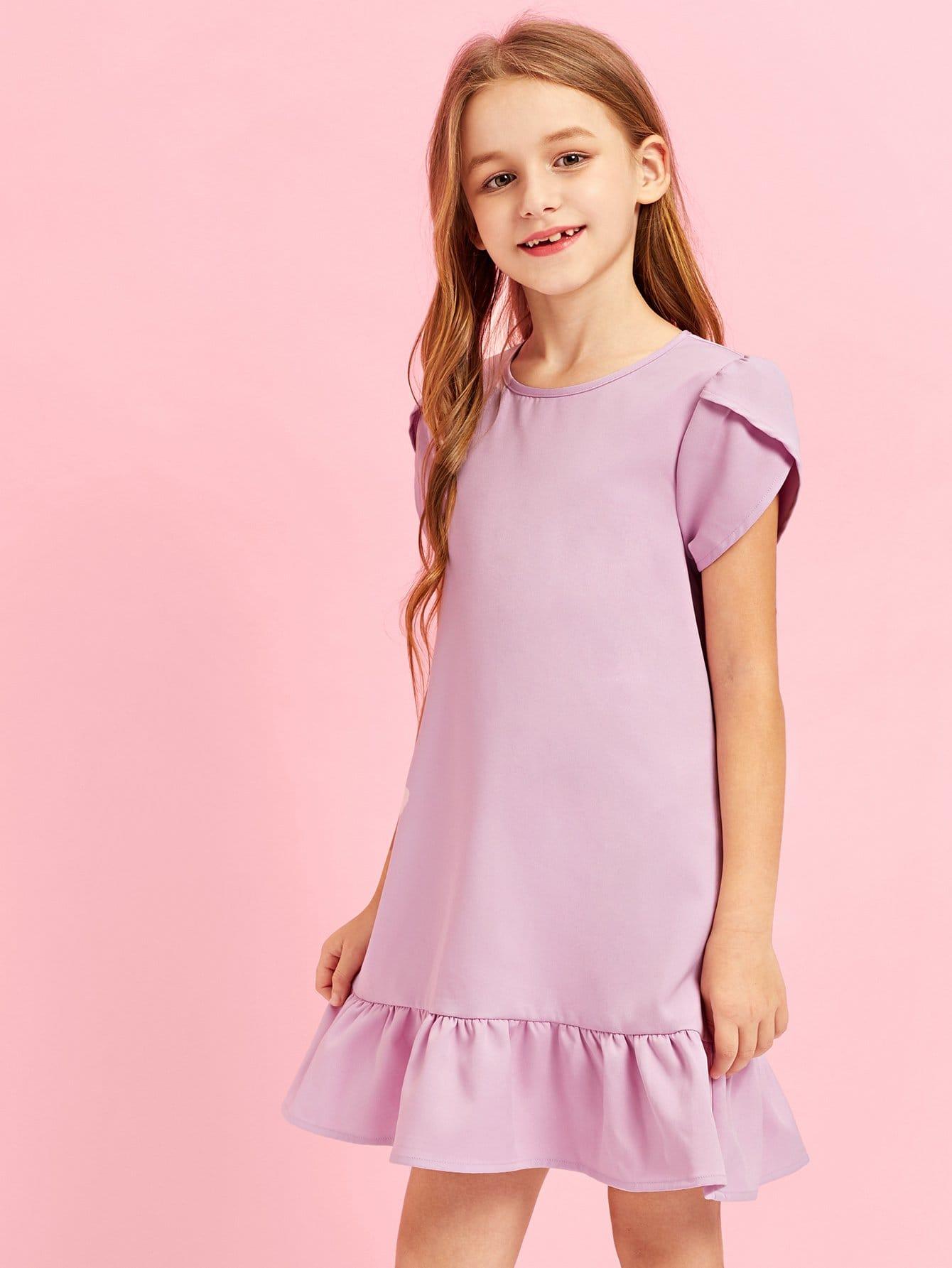 Купить Девочка с замочной скважиной Back Ruffle Hem Dress, Sashab, SheIn