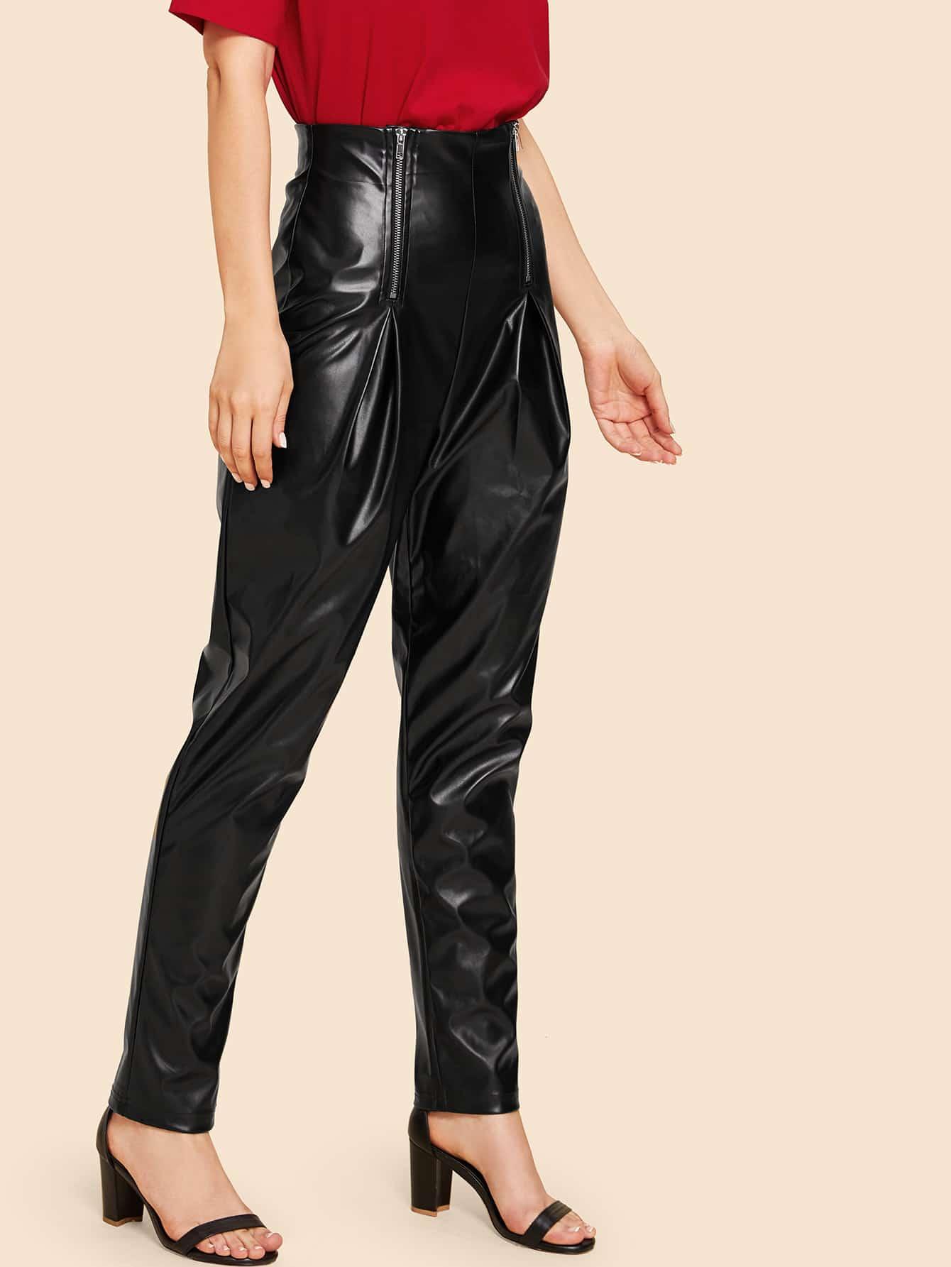 Двойной Zip фронт высокой талии PU штаны