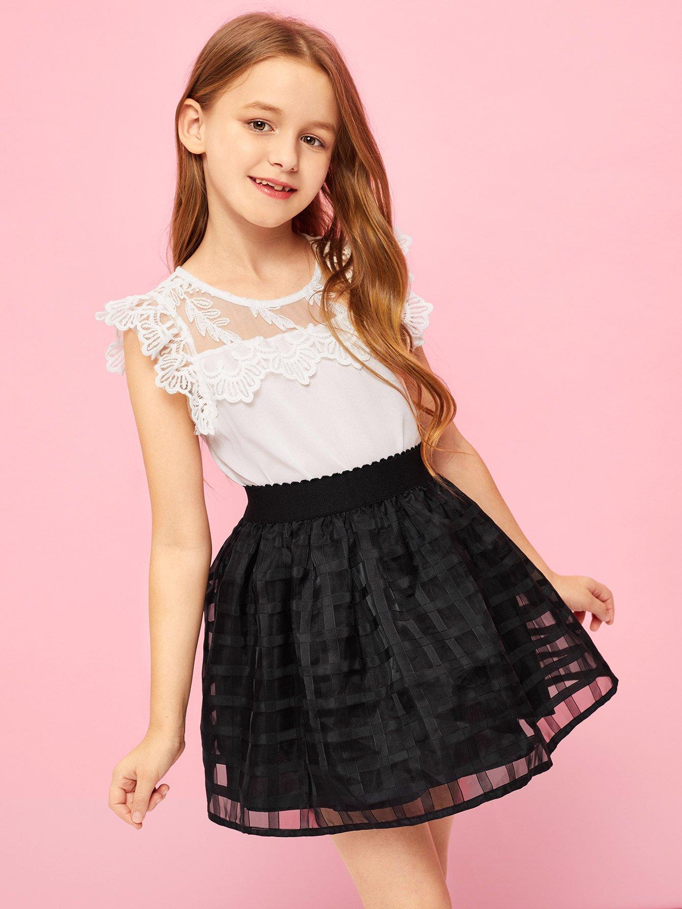 Купить Девушки A-Line Mesh Skirt, Sashab, SheIn