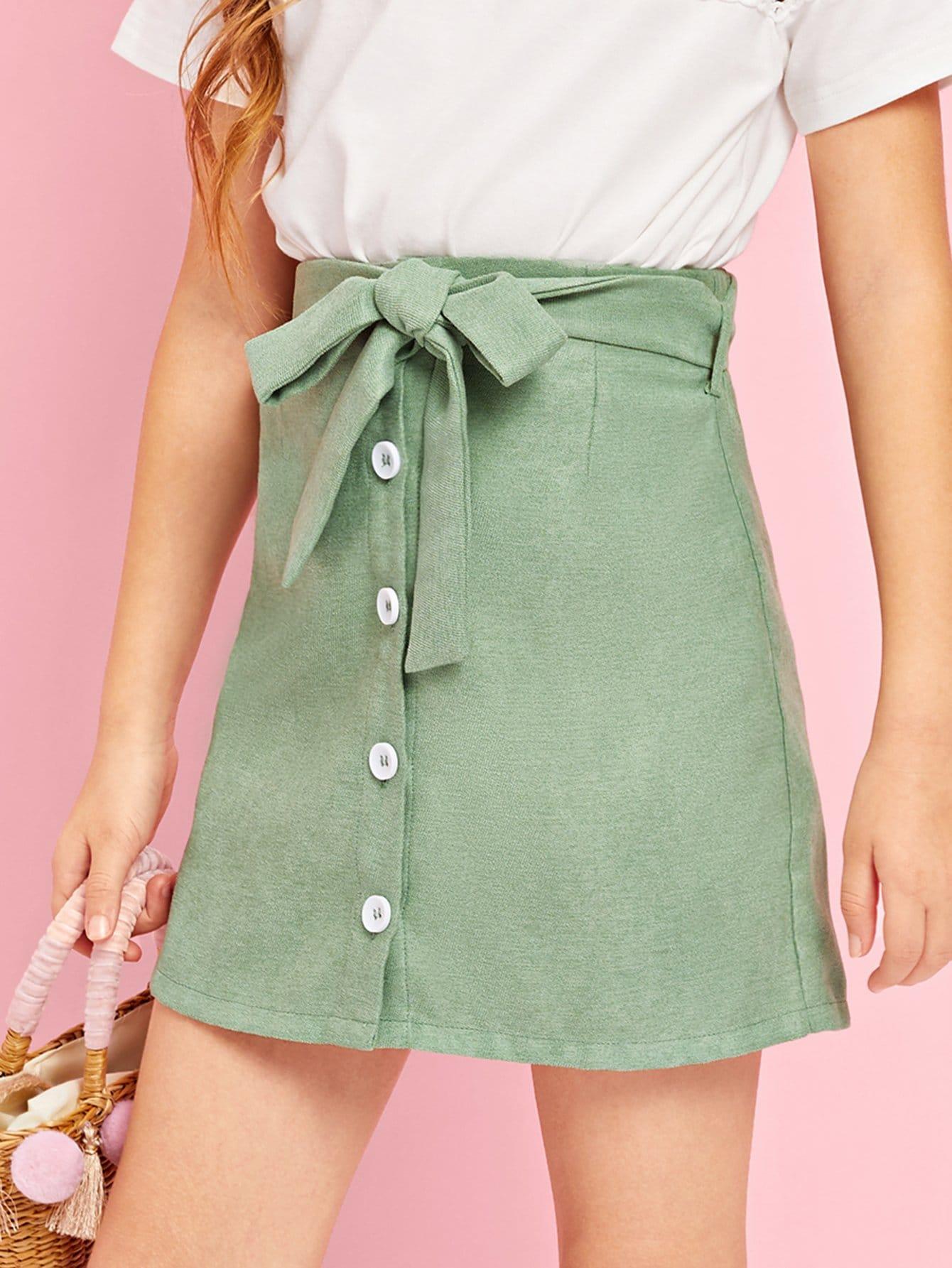 Купить Девушки Button Up Belted Skirt, Sashab, SheIn