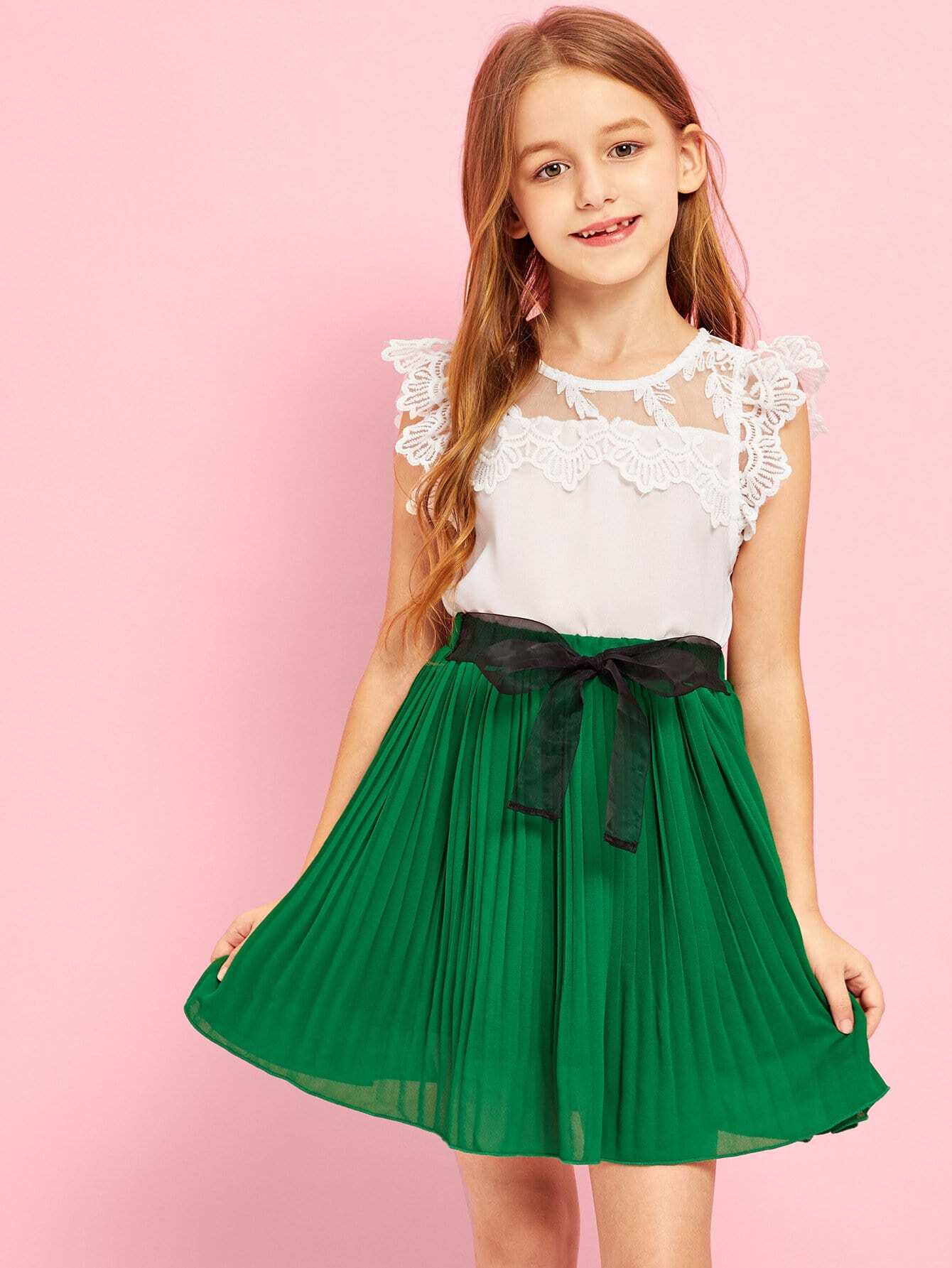 Girls Lace Mesh Keyhole Back Top & Pleated Skirt Set girls keyhole back floral embroidered mesh top
