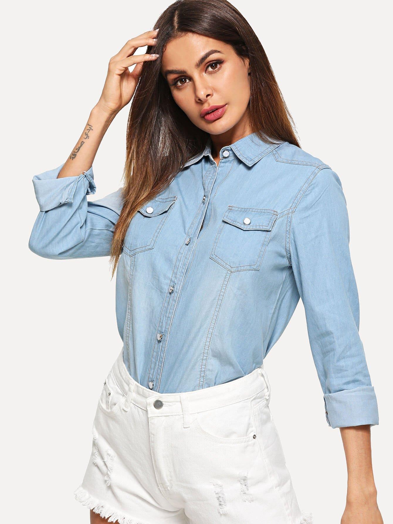 Купить Джинсовая блузка с украшением пуговицы и кармана, Andy, SheIn