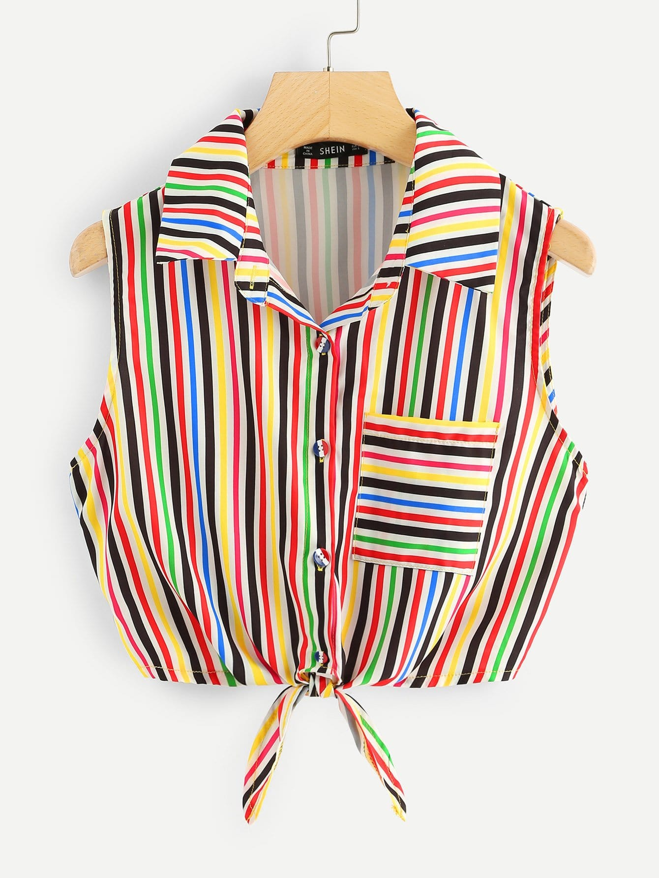 Pocket Patched Striped Knot Shirt pocket patched striped shell shirt