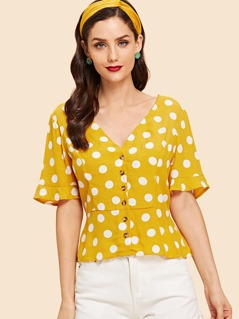 Button Front Polka Dot V-Neck Top