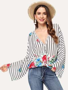 Wrap Flower Print Striped Top