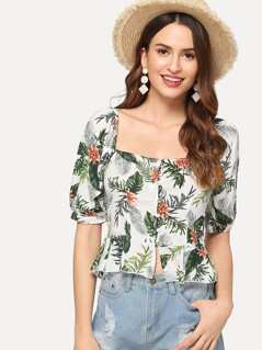Jungle Leaf Print Button Front Top