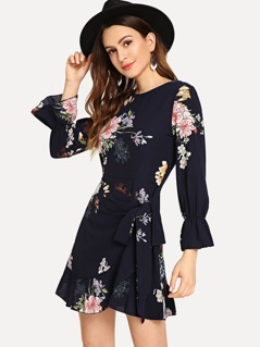 Floral Print Flounce Sleeve Self Belted Dress