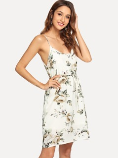 Double V Neckline Tie Waist Floral Cami Dress