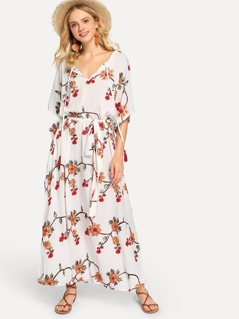 Bell Sleeve Botanical Embroidery Dress