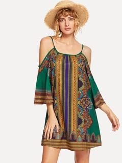Open Shoulder Ornate Print Dress
