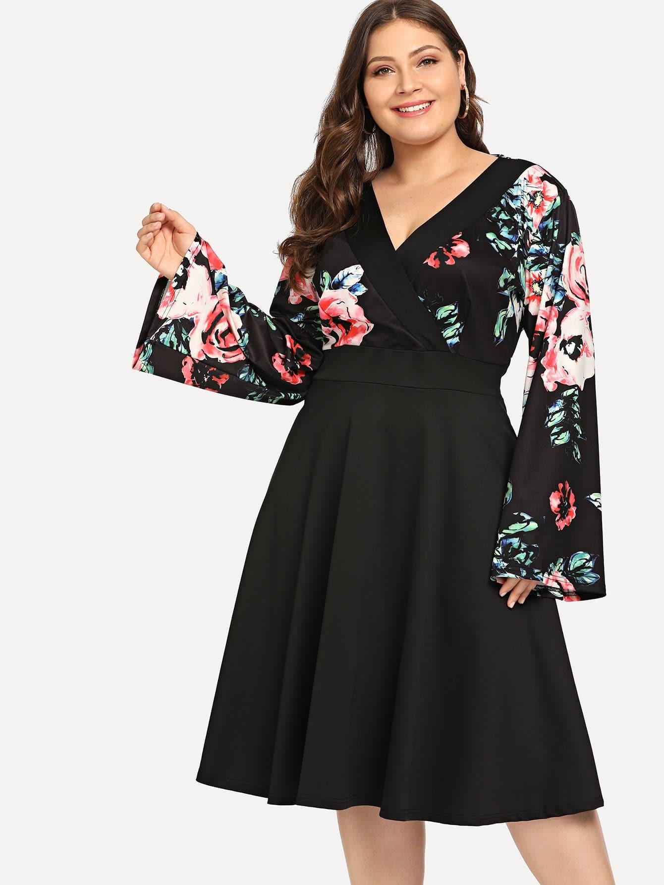 Купить Большое блестящое ситцевое платье Surplice и с подходящим воротником, Carol, SheIn