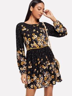 Laser Cut Floral Flare Dress