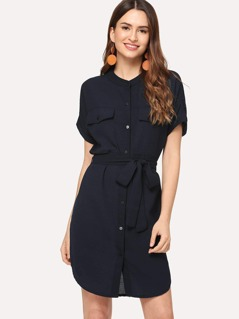 Button Front Collar Neck Belted Dress