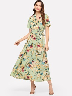 Waist Belted Notched Neck Floral Dress