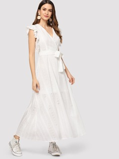 Flutter Sleeve Embroidered Eyelet Belted Dress