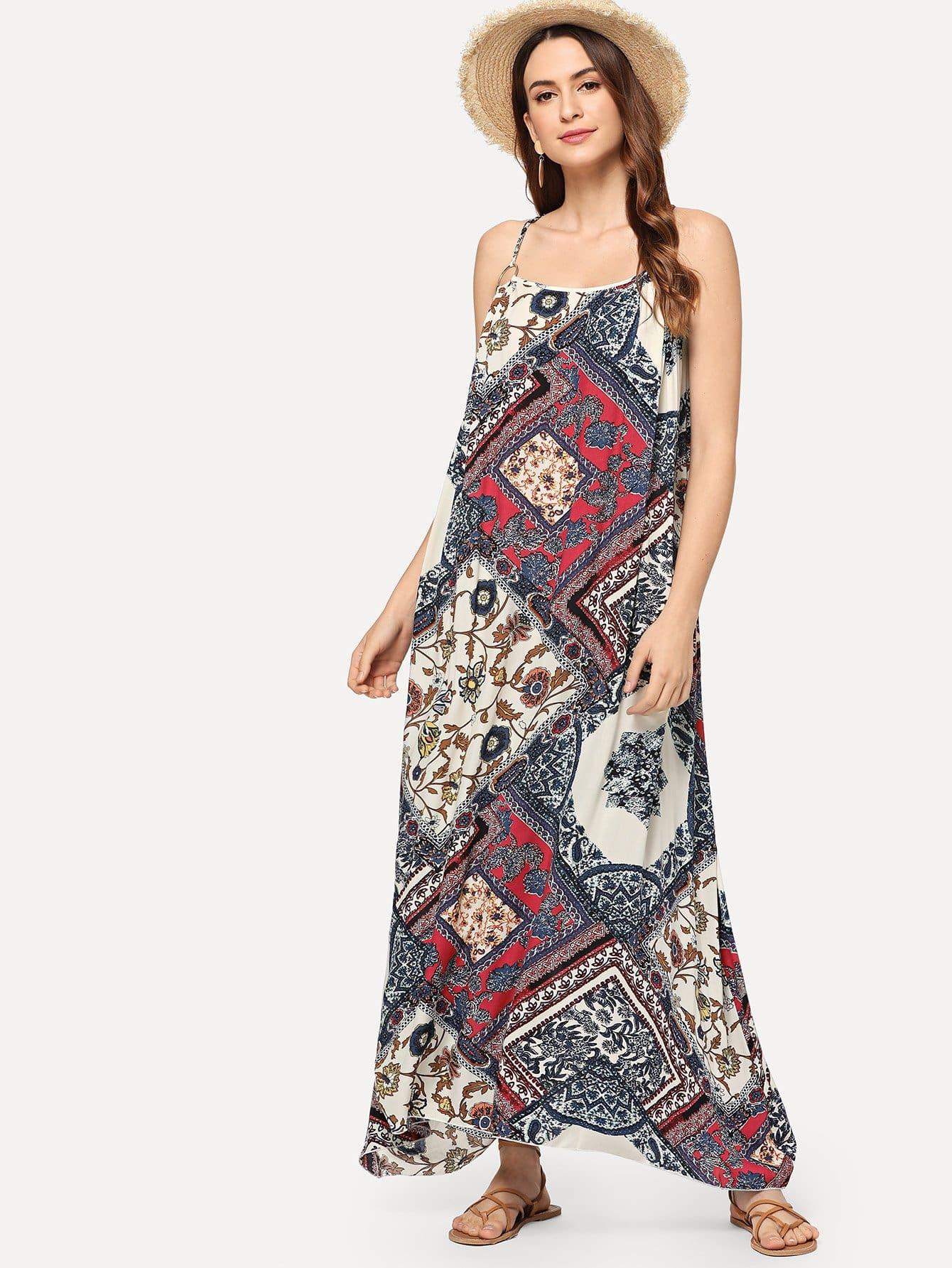 Купить Платье на бретелях и с рисунками геометрий и цветов, Jana, SheIn