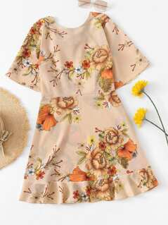 Ruffle Embellished Back Floral Dress