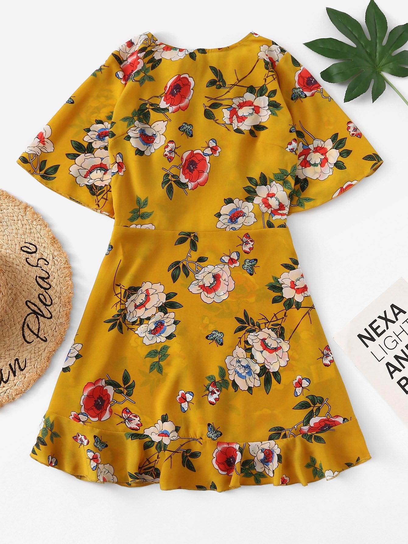 цена на Ruffle Embellished Back Floral Dress