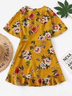 Ruffle Embellished Back Floral Dress