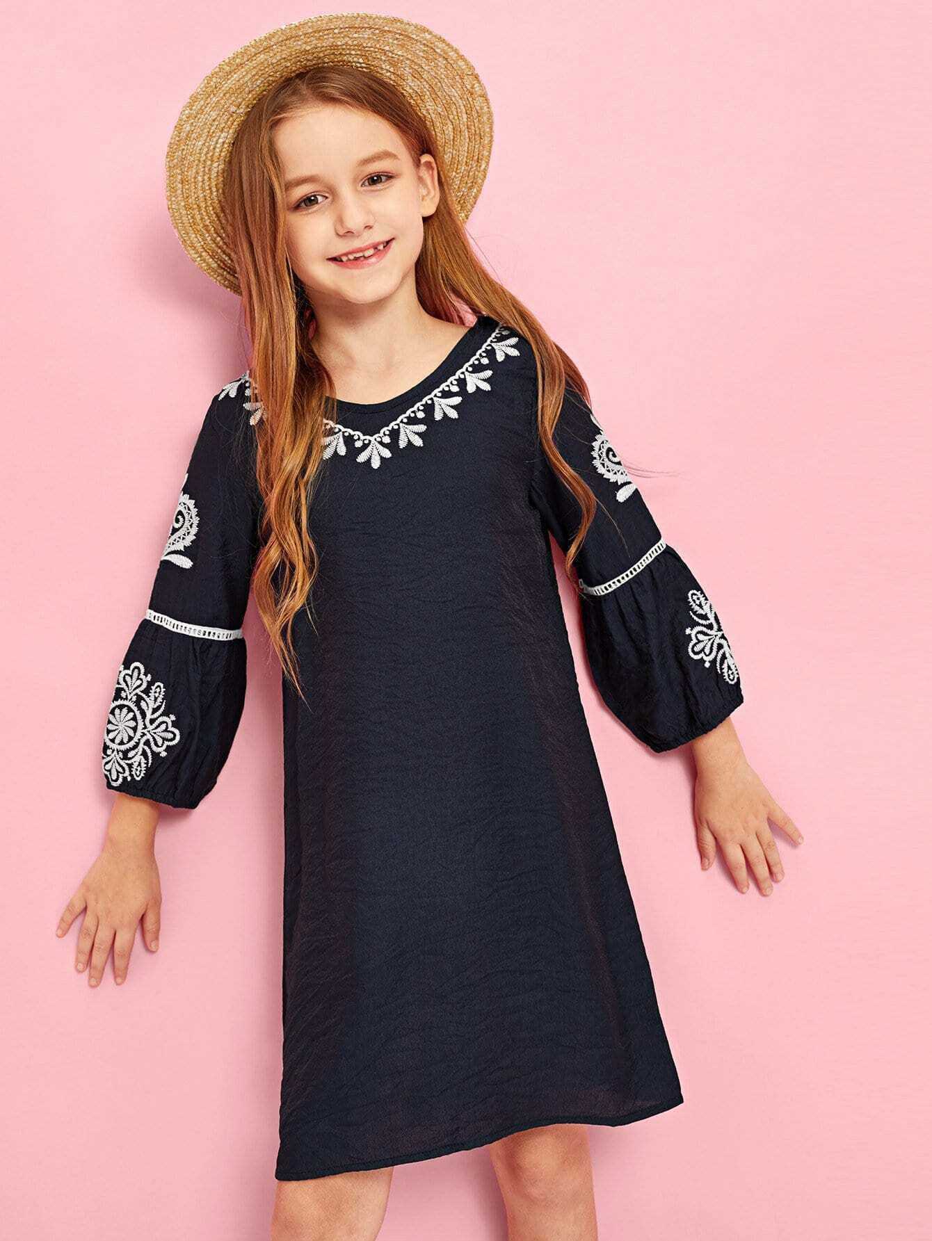 Купить Лазерное длинное платье и с рисунками вышивки для девочки, Sashab, SheIn