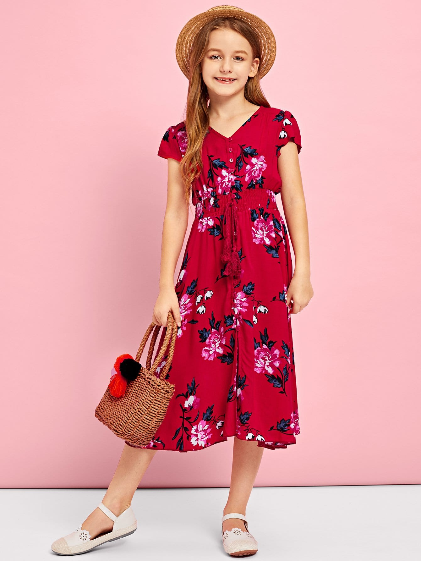 Купить Платье с украшением кисти и пуговицы для девочки, Sashab, SheIn