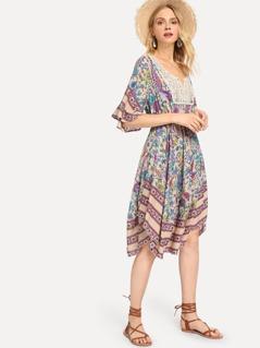 Lace Contrast Flower Print Dress