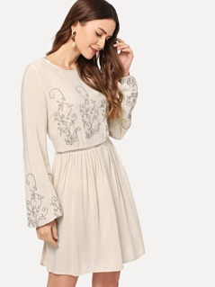 Cut Out Embroidered Dress