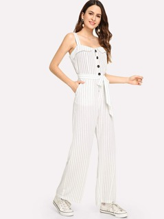 Ruffle Detail Belted Striped Jumpsuit