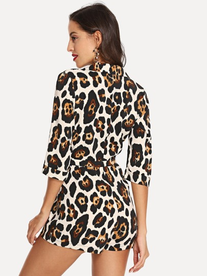 SheIn / Notched Neck Leopard Print Belted Jumpsuit
