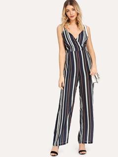 Zip Back Belted Striped Cami Jumpsuit