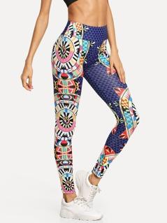 Wide Waist Digital Print Leggings