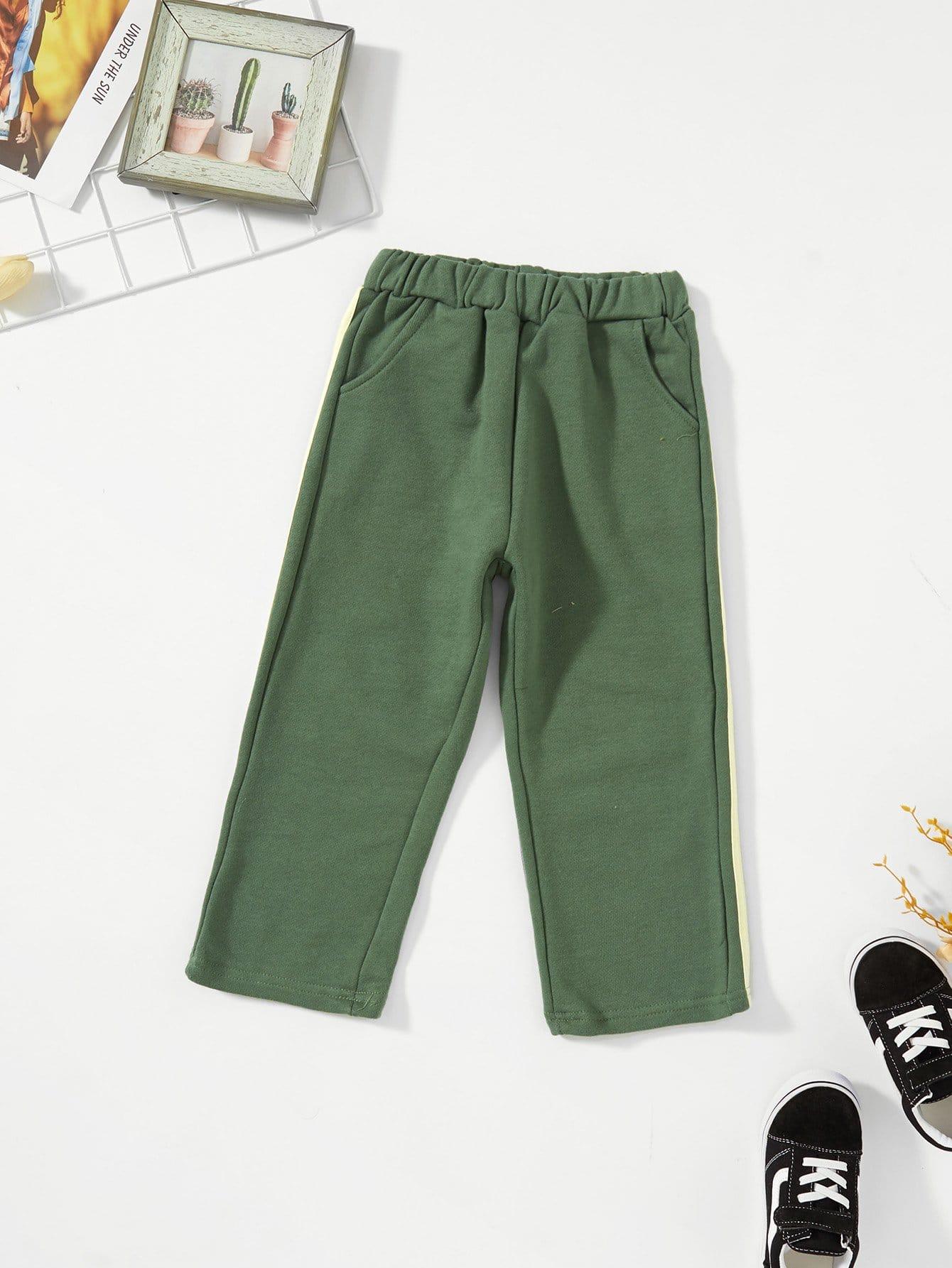 Купить Полосатые брюки и с басоном эластичным для девочки, null, SheIn