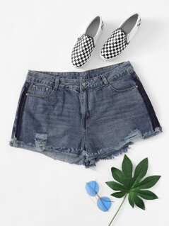 Plus Color Block Cuffed Ripped Denim Shorts