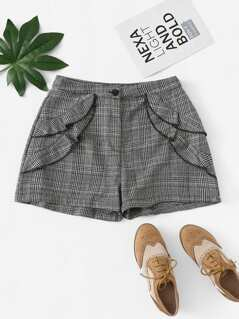 Button Front Ruffle Plaid Shorts