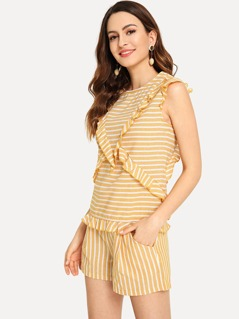 Frill Embellished Striped Top & Shorts Set