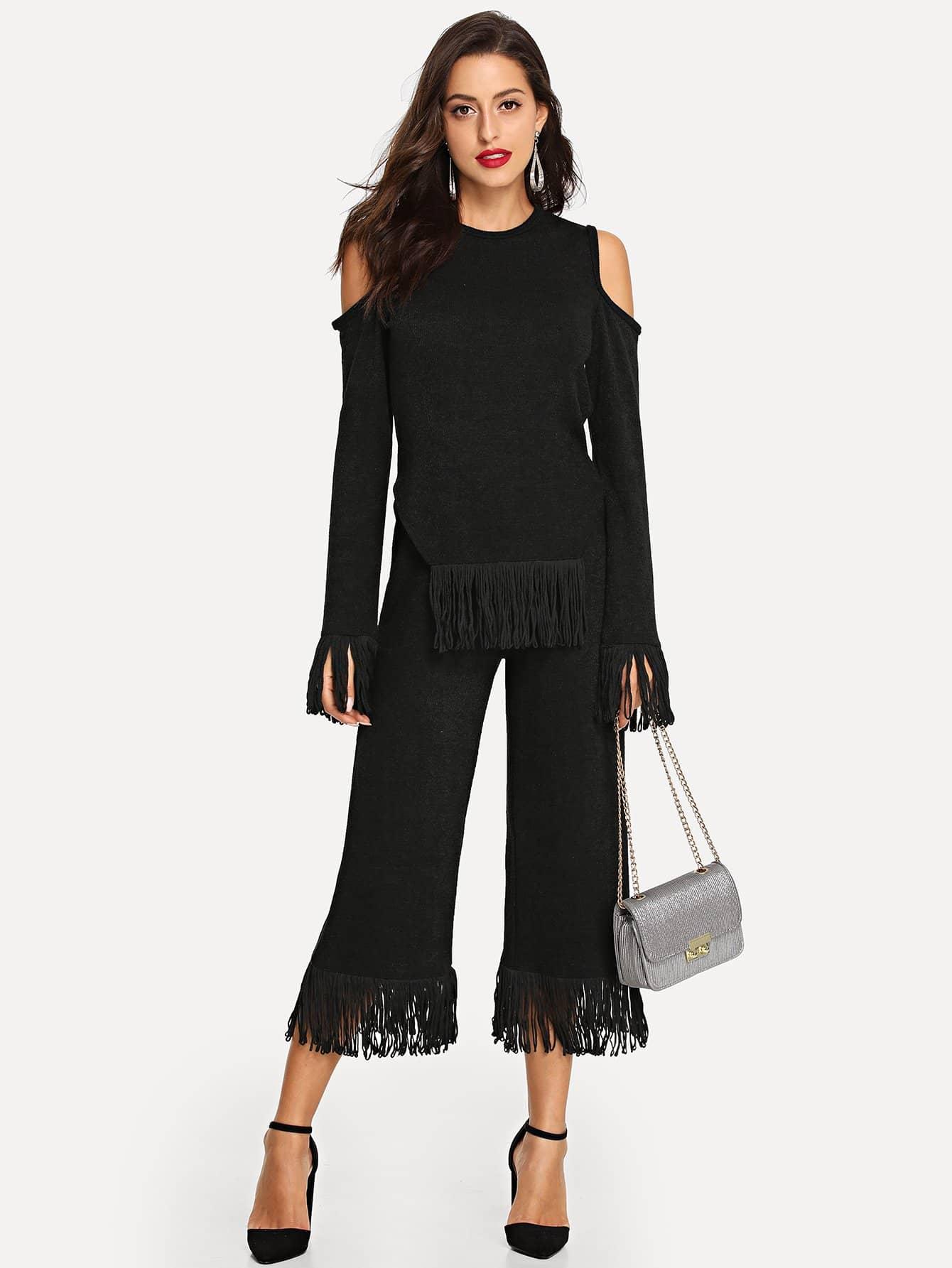 Купить Рваная трикотажная блузка и с украшением кисти и с закройными плечами и брюки, Mary P., SheIn