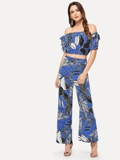 Jungle Leaf Print Bardot Top & Wide Leg Pants