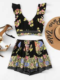 Lace Contrast Floral Top & Shorts Co-Ord