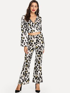 Wrap Leopard Print Top & Pants Co-Ord