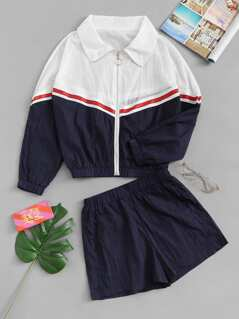 Cut and Sew O-Ring Zip Up Top and Shorts Set