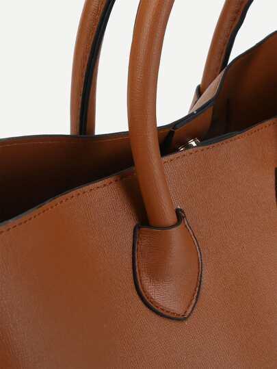 Metal Detail PU Satchel Bag